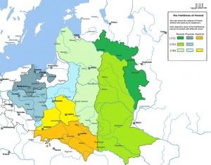 Три поділи союзу Польщі й Литви на одній карті