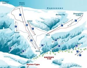 Гірськолижний курорт Карпач - Карта трас