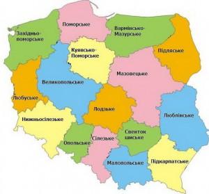 Воєводства Польщі - Карта