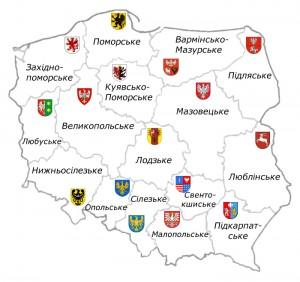 Карта воєводств Польщі