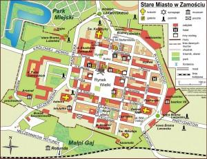 План старої частини міста Замосць