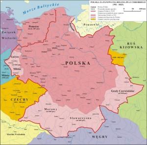 Карта Польщі в 992-1025 рр.