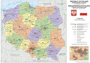 Адміністративний поділ Польщі. Карта