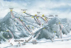 Карта трас - Гірськолижний курорт Щирк