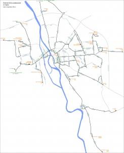 Карта автобусних ліній у Ополе