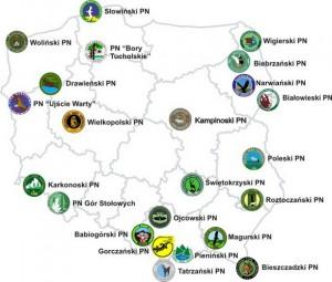 Національні парки Польщі - Карта