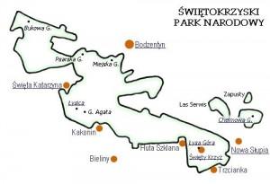 Карта Свентокшиського національного парку
